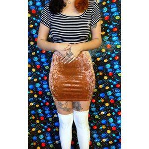Velvet bronze mini skirt